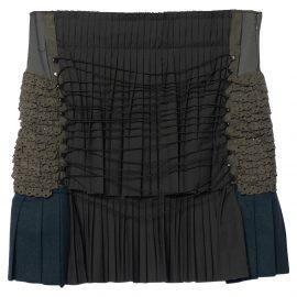 Balenciaga Vintage Grey Knit Pleated Detail Mini Skirt M