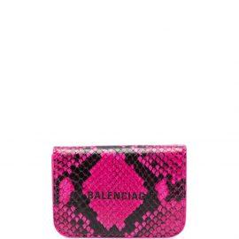 Balenciaga mini Cash snake-effect wallet - Pink