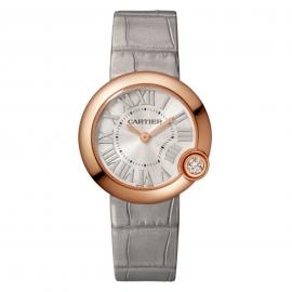 Ballon Blanc de Cartier watch, 30 mm, rose gold, diamond, leather