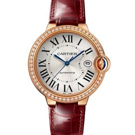 Ballon Bleu De Cartier 18K Rose Gold & Diamond Alligator-Embossed Leather-Strap Watch