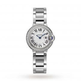 Ballon Bleu de Cartier watch, 28 mm, steel, diamonds