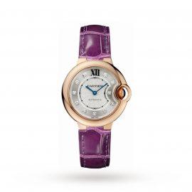 Ballon Bleu de Cartier watch, 33 mm, 18K rose gold, diamonds, leather