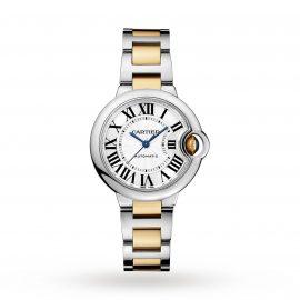 Ballon Bleu de Cartier watch, 33 mm, 18K yellow gold, steel