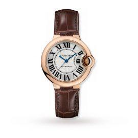 Ballon Bleu de Cartier watch, 33 mm, rose gold, leather