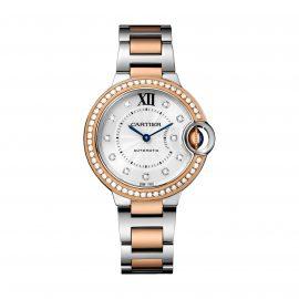 Ballon Bleu de Cartier watch, 33 mm, rose gold, steel, diamonds