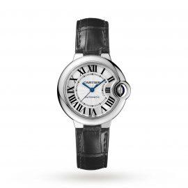 Ballon Bleu de Cartier watch, 33 mm, steel, leather