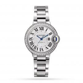 Ballon Bleu de Cartier watch, 33mm, mechanical movement with automatic winding, steel, diamonds