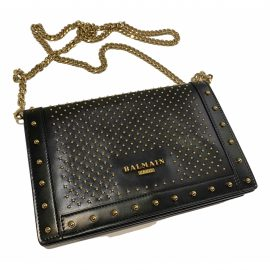 Balmain N Black Leather Clutch Bag for Women