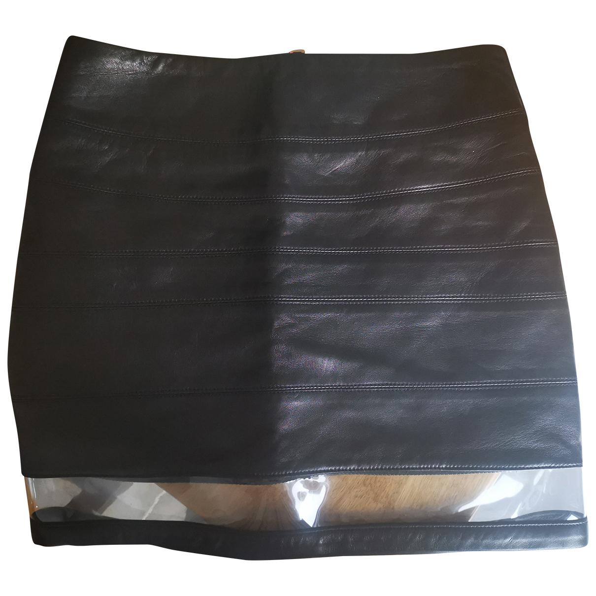 Balmain N Black Leather Skirt for Women