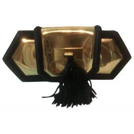 Balmain N Gold Leather Clutch Bag for Women