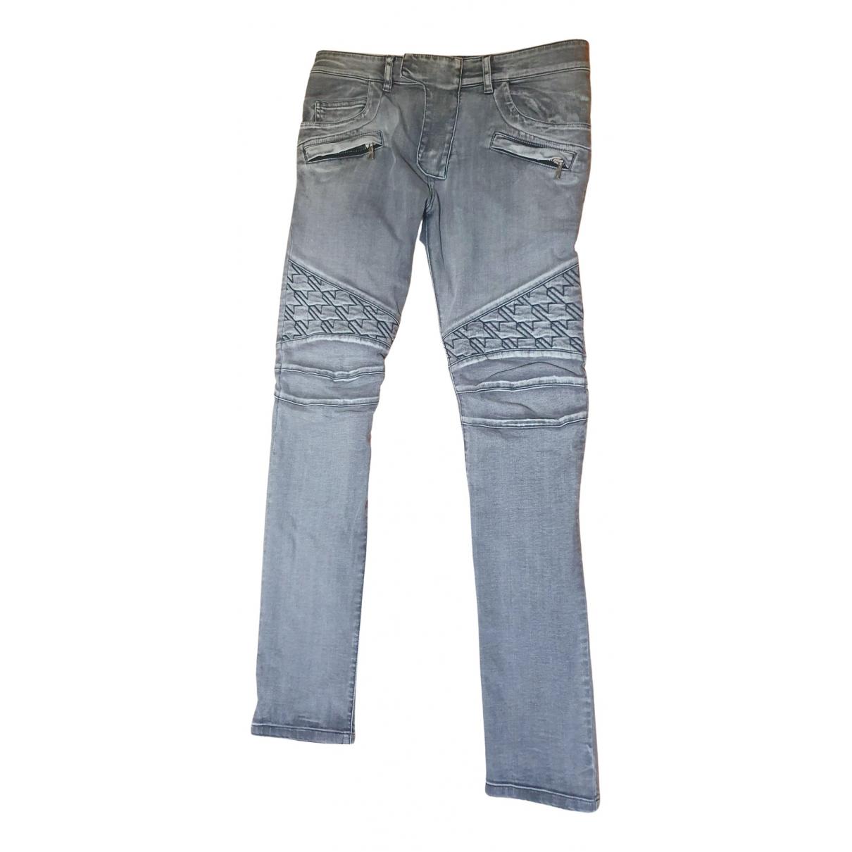 Balmain N Grey Cotton Jeans for Men