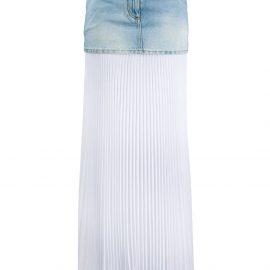 Balmain bi-material pleated denim skirt - Blue