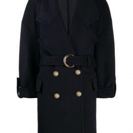 Balmain boxy double breasted coat - Blue