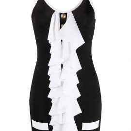 Balmain ruffle-detail mini dress - Black