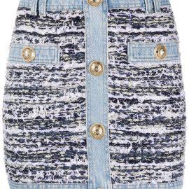 Balmain tweed denim mini skirt - Blue