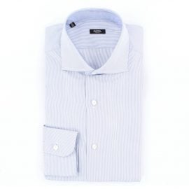 Barba Classic striped shirt in white and blue