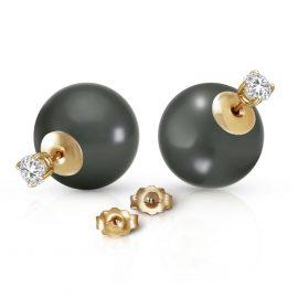 Black Pearl & Diamond Shell Stud Earrings in 9ct Gold
