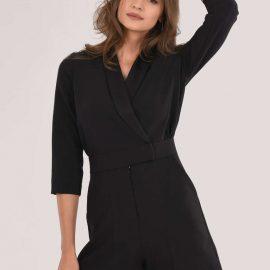Black Tuxedo Collar Playsuit