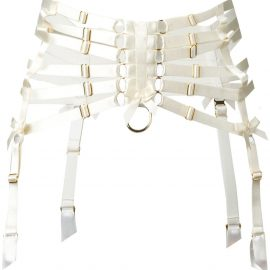 Bordelle webbed suspender belt - Neutrals