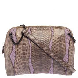 Bottega Veneta Beige/Purple Intrecciato Leather and Snakeskin Shoulder Bag