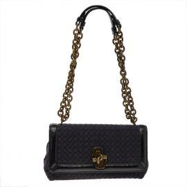 Bottega Veneta Black Intrecciato Fabric and Patent Leather Olimpia Knot Shoulder Bag