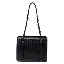 Bottega Veneta Black Intrecciato Leather Chain Shoulder Bag