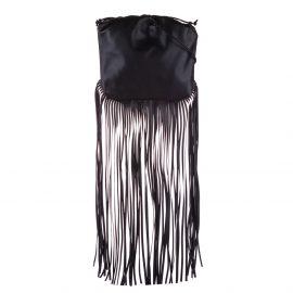 Bottega Veneta Black Leather The Fringe Pouch Shoulder Bag