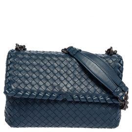 Bottega Veneta Blue Intrecciato Leather Olimpia Shoulder Bag