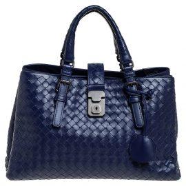 Bottega Veneta Blue Intrecciato Leather Small Roma Tote