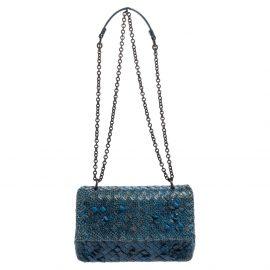 Bottega Veneta Blue Snakeskin Leather Olimpia Shoulder Bag