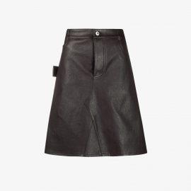 Bottega Veneta - Brown A-Line Leather Mini Skirt - Women's - Cotton/Lamb Skin