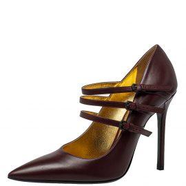 Bottega Veneta Burgundy Leather Strappy Mary Jane Pumps Size 41