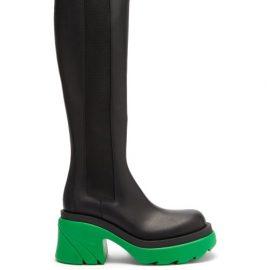 Bottega Veneta - Flash Chunky-sole Leather Knee-high Boots - Womens - Black Multi