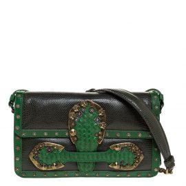 Bottega Veneta Green Lizard and Leather Limited Edition Rialto Shoulder Bag
