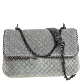 Bottega Veneta Grey Embroidered Velvet and Ayer Baby Olimpia Shoulder Bag