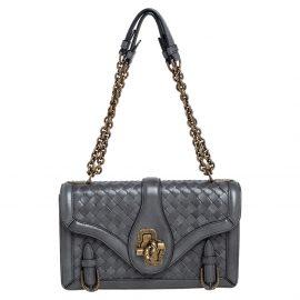 Bottega Veneta Grey Intrecciato Leather City Knot Shoulder Bag