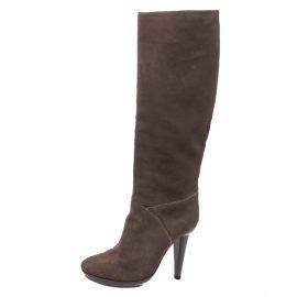 Bottega Veneta Grey Suede Mid Calf Boots Size 38.5