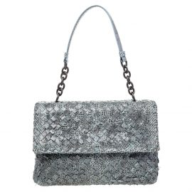 Bottega Veneta Grey/Blue Snakeskin Leather Olimpia Shoulder Bag