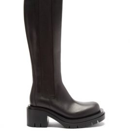 Bottega Veneta - Lug-sole Chunky Knee-high Leather Boots - Womens - Black