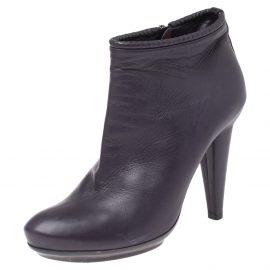 Bottega Veneta Purple Leather Ankle Boots Size 39