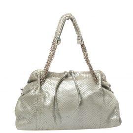 Bottega Veneta Silver Python Shoulder Bag
