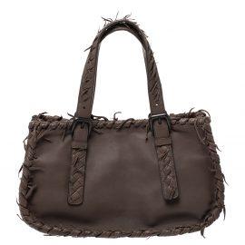 Bottega Veneta Taupe Intrecciato Leather Fringe Satchel