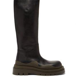 Bottega Veneta - Tire Lug-sole Leather Knee-high Boots - Womens - Black Multi