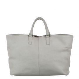 Bottega Veneta White Leather Braided Detail Tote Bag
