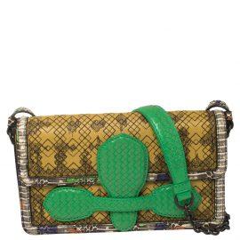 Bottega Veneta Yellow Leather and Python Irish Madras Shoulder Bag