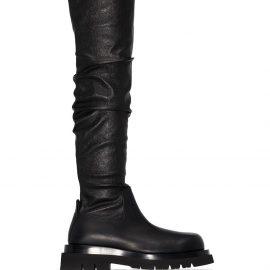 Bottega Veneta thigh high chunky boots - Black