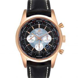 Breitling Black 18K Rose Gold Transocean Chronograph Unitime RB0510 Men's Wristwatch 46 MM