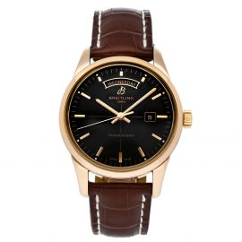 Breitling Black 18K Rose Gold Transocean Day & Date R4531012/BB70 Men's Wristwatch 43 MM