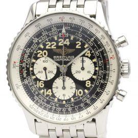 Breitling Black Stainless Steel Navitimer Cosmonaute A12022 Men's Wristwatch 41 MM