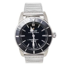 Breitling Black Stainless Steel Superocean Heritage AB2020 Men's Wristwatch 46 mm, Silver